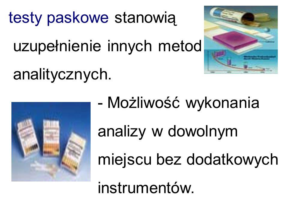 Popularnymi metodami służącymi do klasyfikacji wód są: - testy analityczne - testy paskowe - testy kolorymetryczne - metody pomiaru wizualnego - metody fotometryczne
