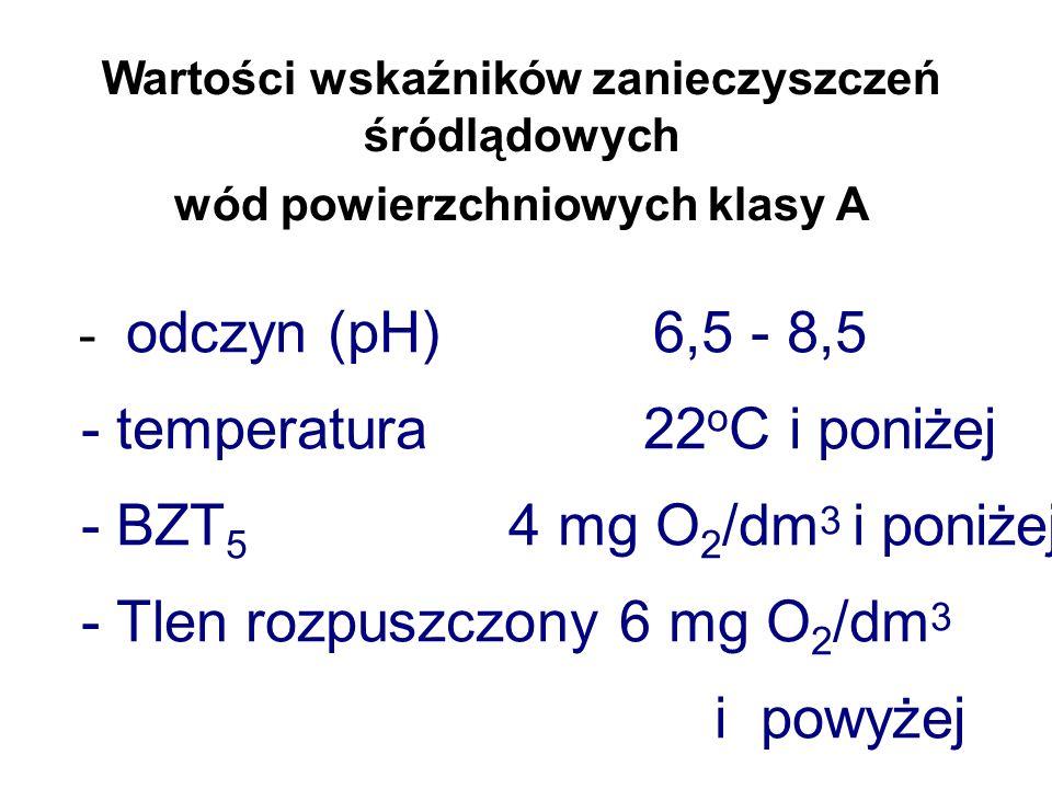 Wartości wskaźników zanieczyszczeń śródlądowych wód powierzchniowych klasy A - azot azotanowy 5 mg n NO3 /dm 3 i poniżej - fosforany rozpuszczone 0,2 mg PO4 /dm 3 i poniżej - twardość ogólna 50 mg CaCO 3 /dm 3 i poniżej