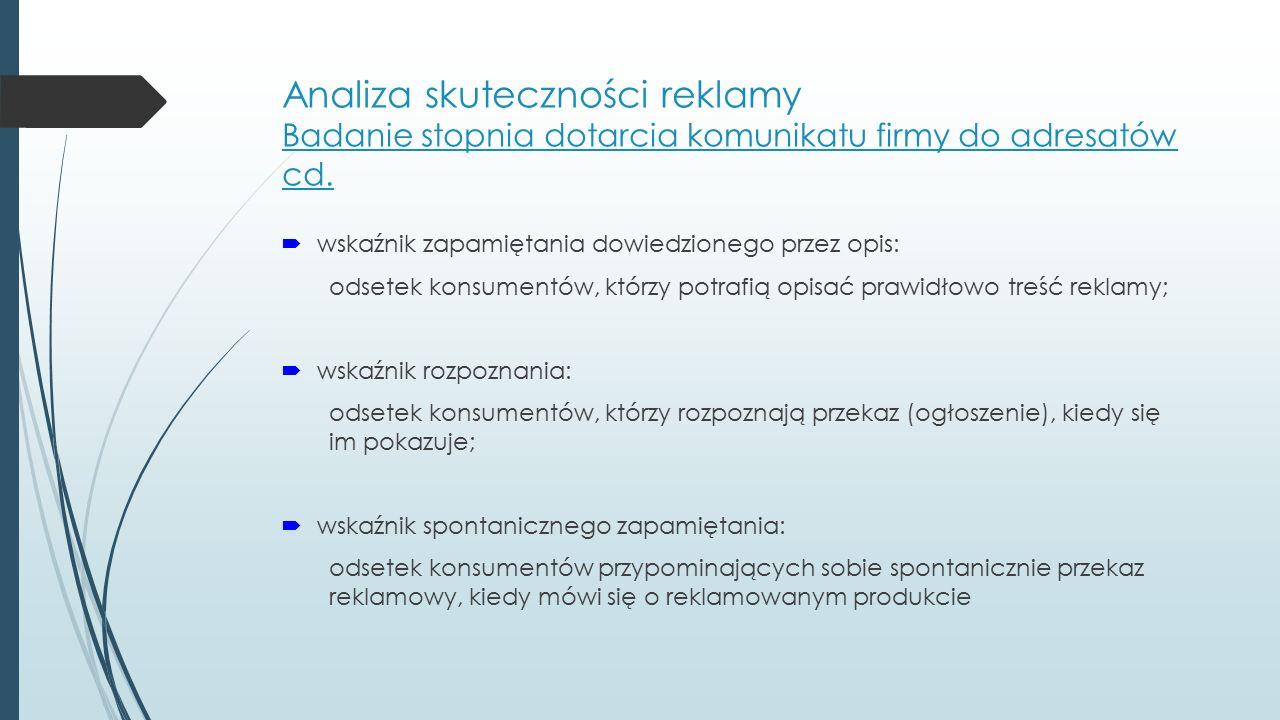 Analiza skuteczności reklamy Badanie stopnia dotarcia komunikatu firmy do adresatów cd.  wskaźnik zapamiętania dowiedzionego przez opis: odsetek kons