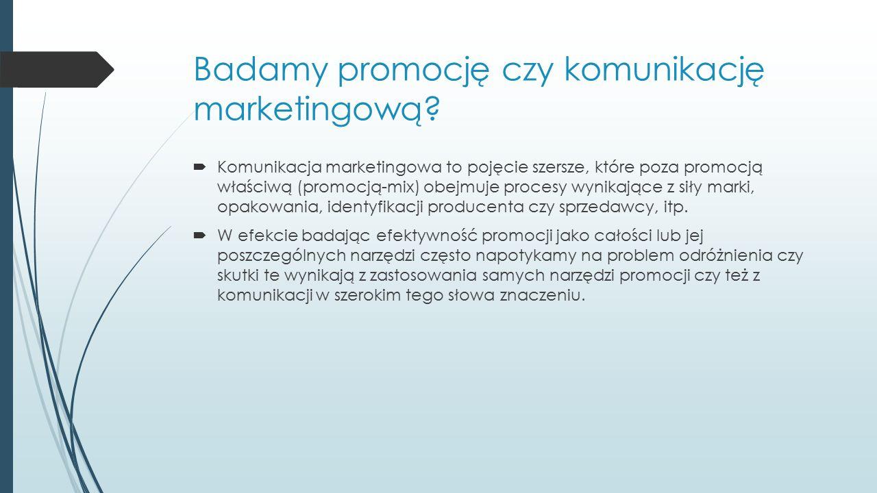 Badamy promocję czy komunikację marketingową?  Komunikacja marketingowa to pojęcie szersze, które poza promocją właściwą (promocją-mix) obejmuje proc