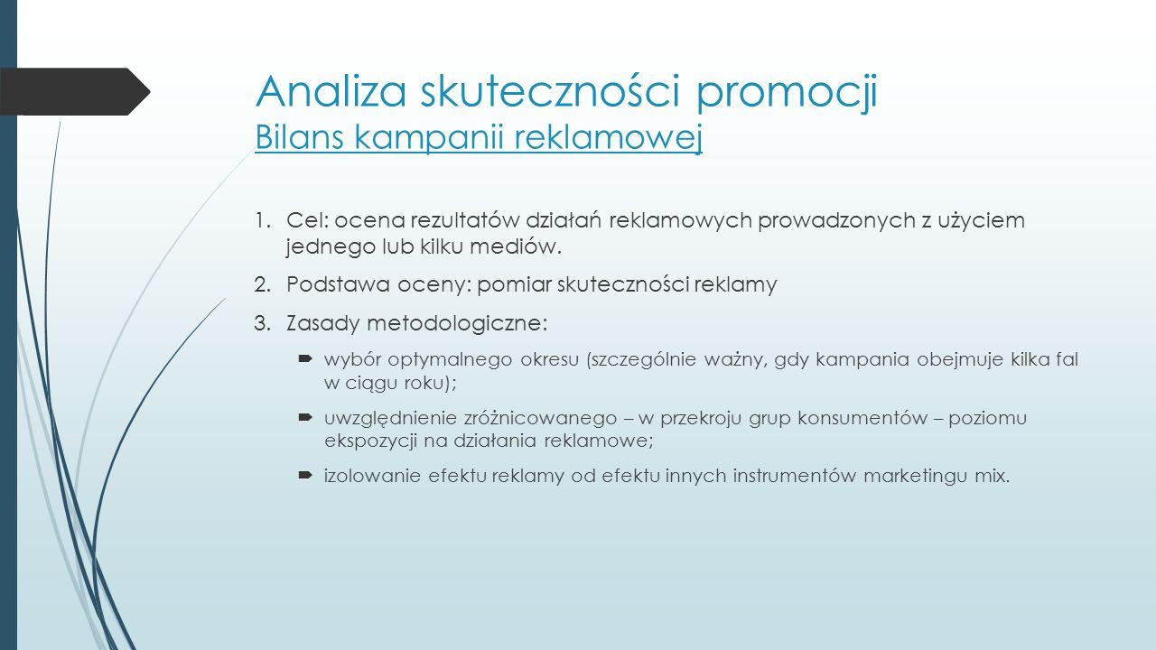 Analiza skuteczności promocji Bilans kampanii reklamowej Informacje niezbędne do przeprowadzenia bilansu:  spontaniczna znajomość produktu i głównych produktów konkurencyjnych;  rozpoznawanie reklamy;  zapamiętywanie reklamy;  wizerunek marki;  nabywanie reklamowanego produktu.