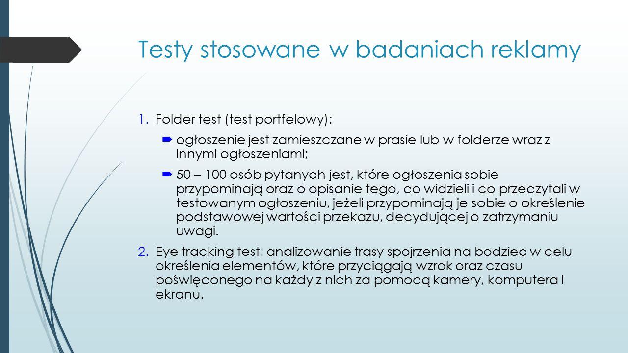 Testy stosowane w badaniach reklamy 1.Folder test (test portfelowy):  ogłoszenie jest zamieszczane w prasie lub w folderze wraz z innymi ogłoszeniami