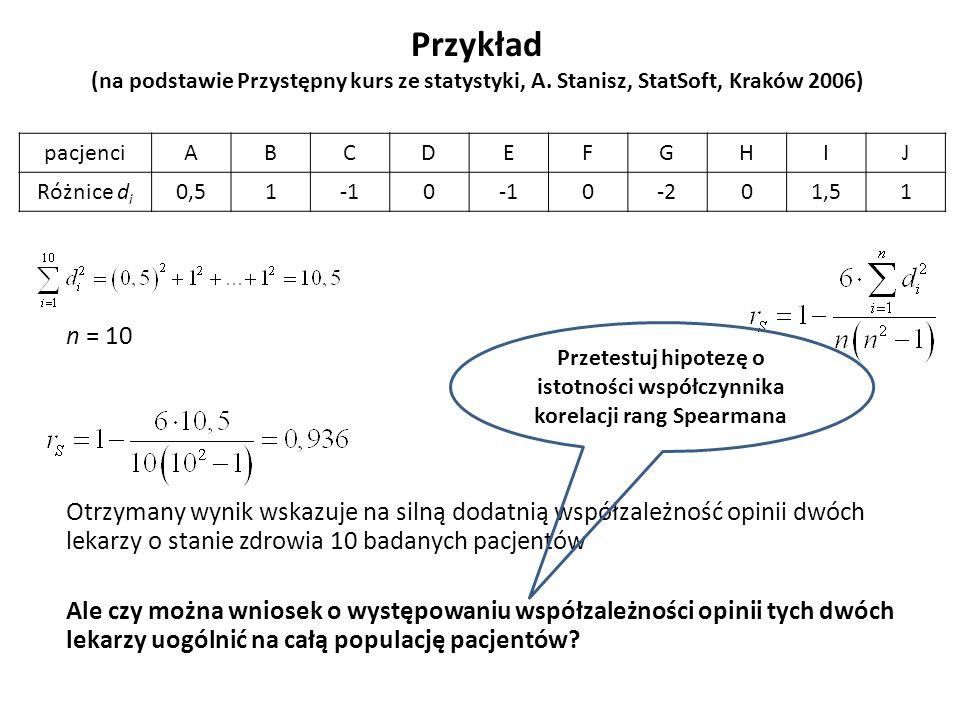 Przykład (na podstawie Przystępny kurs ze statystyki, A. Stanisz, StatSoft, Kraków 2006) n = 10 Otrzymany wynik wskazuje na silną dodatnią współzależn