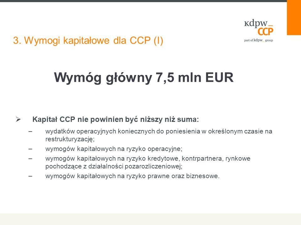 3. Wymogi kapitałowe dla CCP (I)  Kapitał CCP nie powinien być niższy niż suma: –wydatków operacyjnych koniecznych do poniesienia w określonym czasie