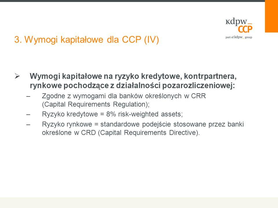 3. Wymogi kapitałowe dla CCP (IV)  Wymogi kapitałowe na ryzyko kredytowe, kontrpartnera, rynkowe pochodzące z działalności pozarozliczeniowej: –Zgodn