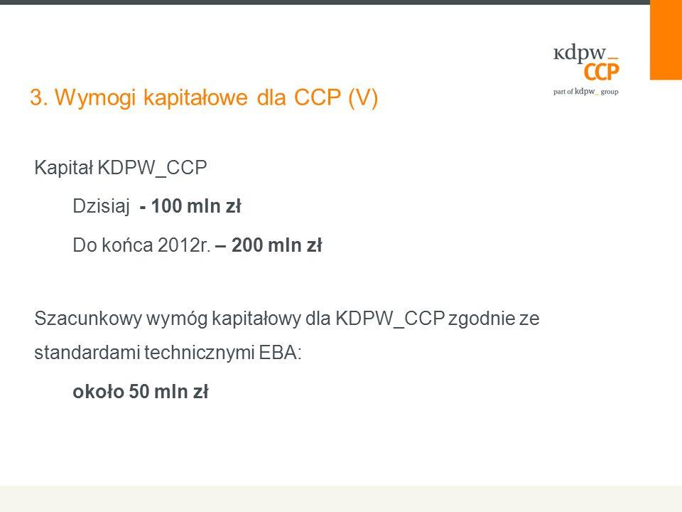 3. Wymogi kapitałowe dla CCP (V) Kapitał KDPW_CCP Dzisiaj - 100 mln zł Do końca 2012r. – 200 mln zł Szacunkowy wymóg kapitałowy dla KDPW_CCP zgodnie z