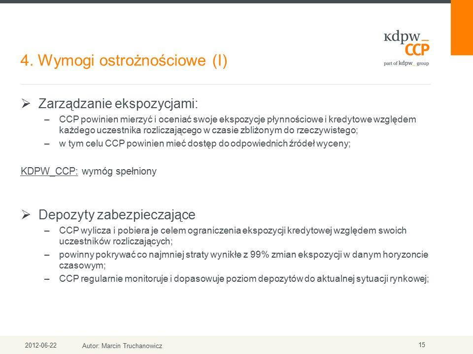 4. Wymogi ostrożnościowe (I) 2012-06-22 Autor: Marcin Truchanowicz 15  Zarządzanie ekspozycjami: –CCP powinien mierzyć i oceniać swoje ekspozycje pły