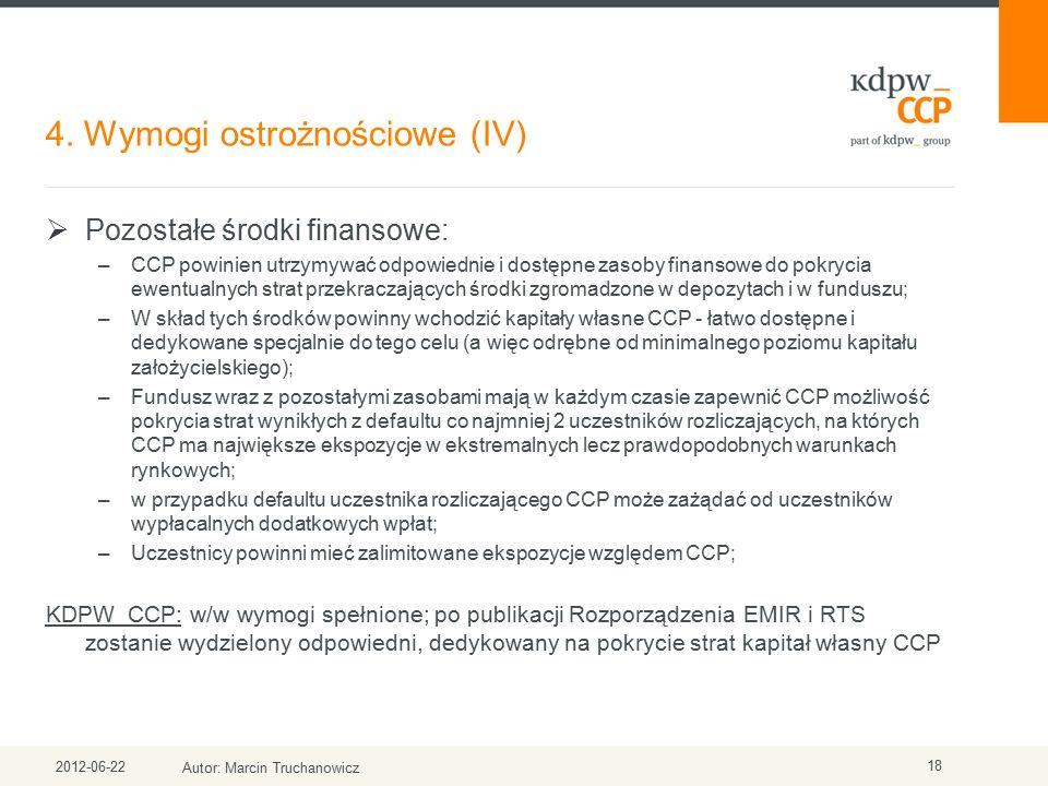 4. Wymogi ostrożnościowe (IV) 2012-06-22 Autor: Marcin Truchanowicz 18  Pozostałe środki finansowe: –CCP powinien utrzymywać odpowiednie i dostępne z