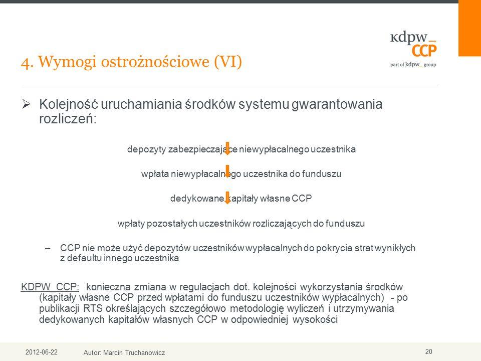 4. Wymogi ostrożnościowe (VI) 2012-06-22 Autor: Marcin Truchanowicz 20  Kolejność uruchamiania środków systemu gwarantowania rozliczeń: depozyty zabe