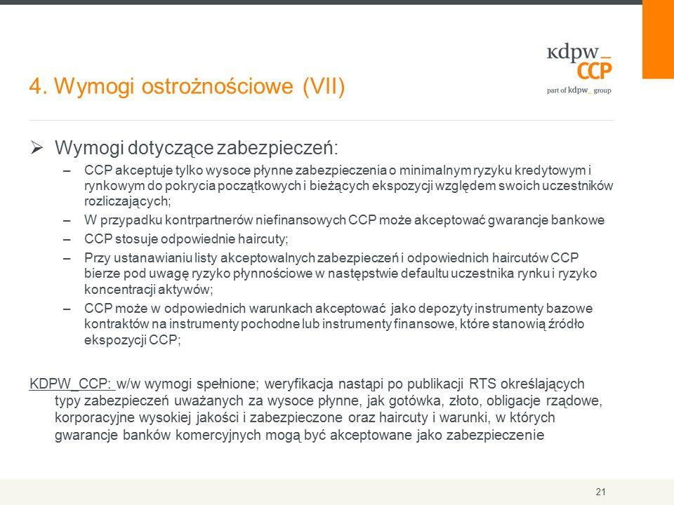4. Wymogi ostrożnościowe (VII) 21  Wymogi dotyczące zabezpieczeń: –CCP akceptuje tylko wysoce płynne zabezpieczenia o minimalnym ryzyku kredytowym i