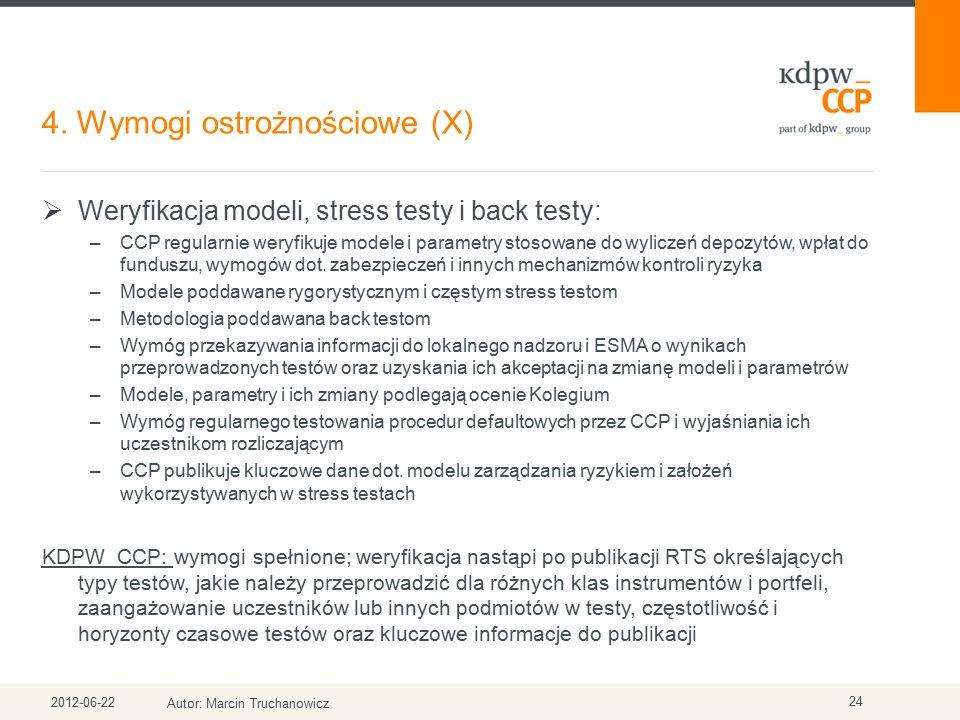 4. Wymogi ostrożnościowe (X) 2012-06-22 Autor: Marcin Truchanowicz 24  Weryfikacja modeli, stress testy i back testy: –CCP regularnie weryfikuje mode