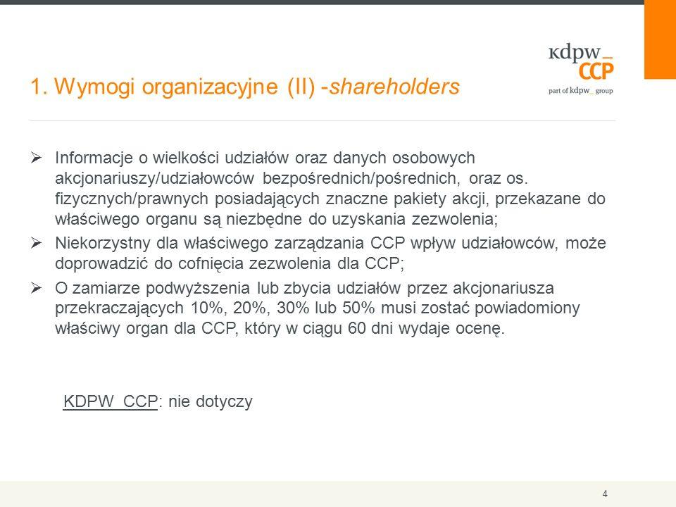 1. Wymogi organizacyjne (II) -shareholders 4  Informacje o wielkości udziałów oraz danych osobowych akcjonariuszy/udziałowców bezpośrednich/pośrednic