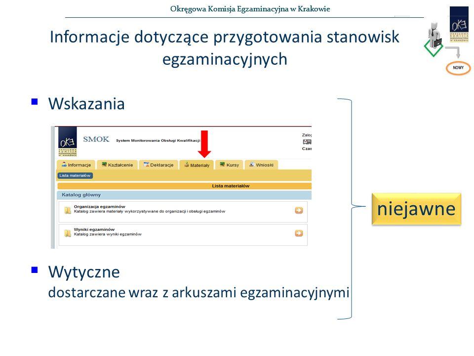 Okręgowa Komisja Egzaminacyjna w Krakowie Informacje dotyczące przygotowania stanowisk egzaminacyjnych  Wskazania  Wytyczne dostarczane wraz z arkuszami egzaminacyjnymi niejawne
