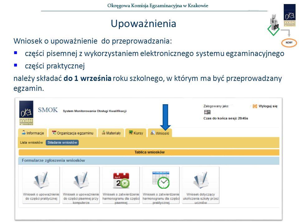 Okręgowa Komisja Egzaminacyjna w Krakowie Upoważnienia Wniosek o upoważnienie do przeprowadzania:  części pisemnej z wykorzystaniem elektronicznego s