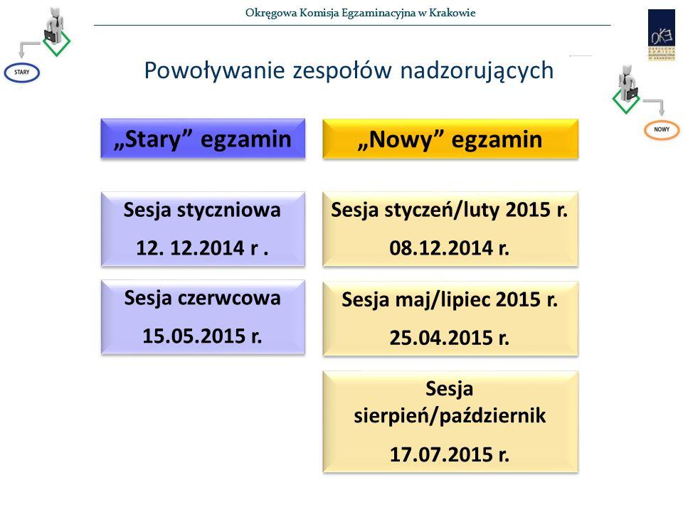 """Okręgowa Komisja Egzaminacyjna w Krakowie Powoływanie zespołów nadzorujących """"Stary egzamin """"Nowy egzamin Sesja styczniowa 12."""