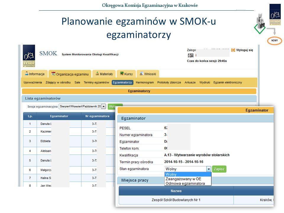 Okręgowa Komisja Egzaminacyjna w Krakowie Planowanie egzaminów w SMOK-u egzaminatorzy