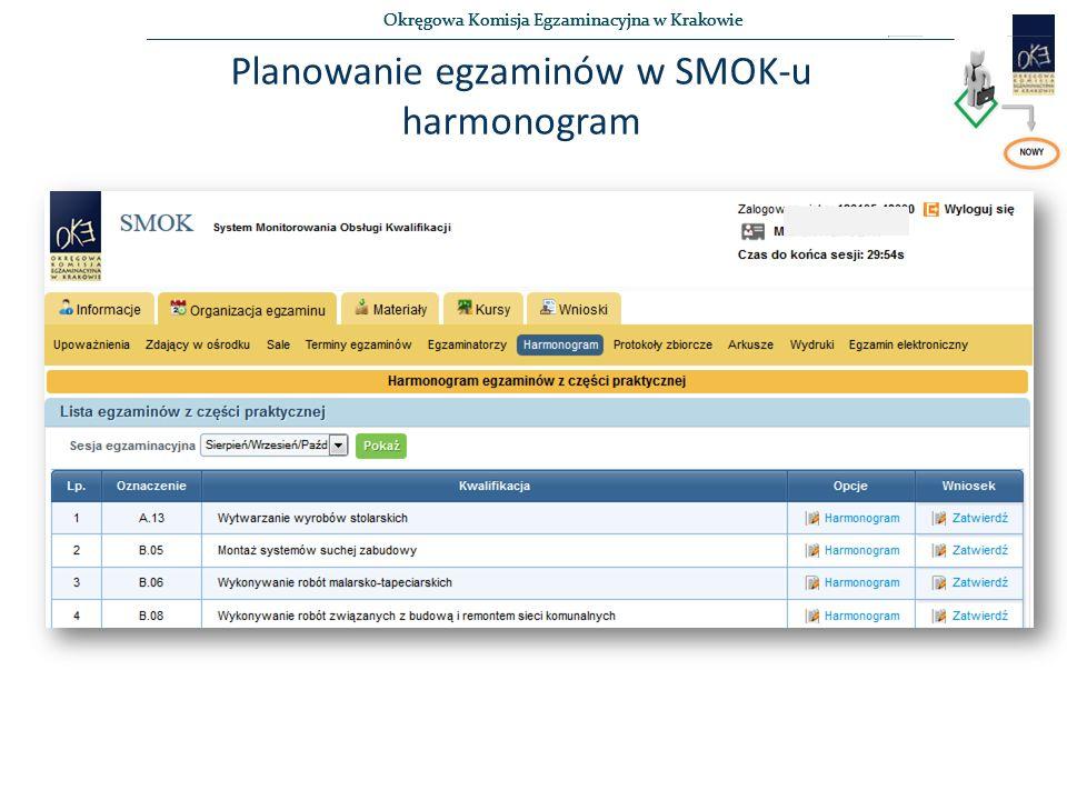 Okręgowa Komisja Egzaminacyjna w Krakowie Planowanie egzaminów w SMOK-u harmonogram