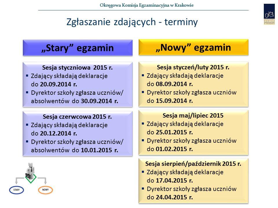 """Okręgowa Komisja Egzaminacyjna w Krakowie Zgłaszanie zdających - terminy """"Stary egzamin """"Nowy egzamin Sesja styczniowa 2015 r."""