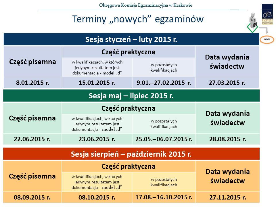 """Okręgowa Komisja Egzaminacyjna w Krakowie Terminy """"nowych egzaminów Sesja styczeń – luty 2015 r."""