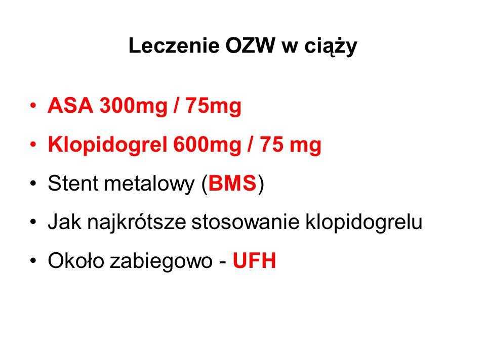 Leczenie OZW w ciąży ASA 300mg / 75mg Klopidogrel 600mg / 75 mg Stent metalowy (BMS) Jak najkrótsze stosowanie klopidogrelu Około zabiegowo - UFH