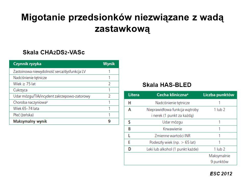 Migotanie przedsionków niezwiązane z wadą zastawkową Skala CHA 2 DS 2 -VASc Skala HAS-BLED ESC 2012