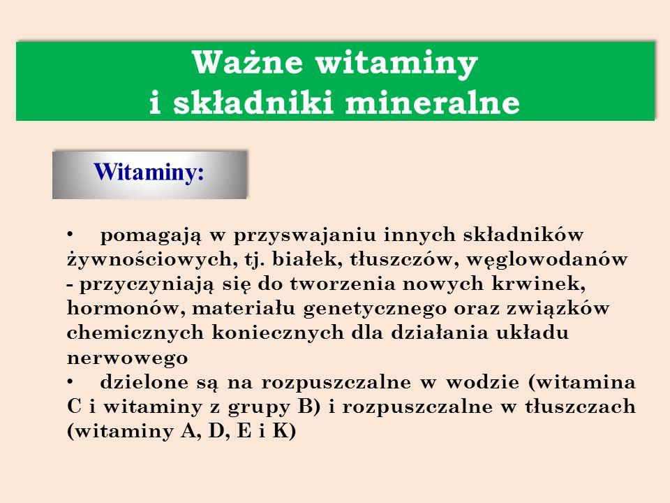 Witaminy: Ważne witaminy i składniki mineralne pomagają w przyswajaniu innych składników żywnościowych, tj.