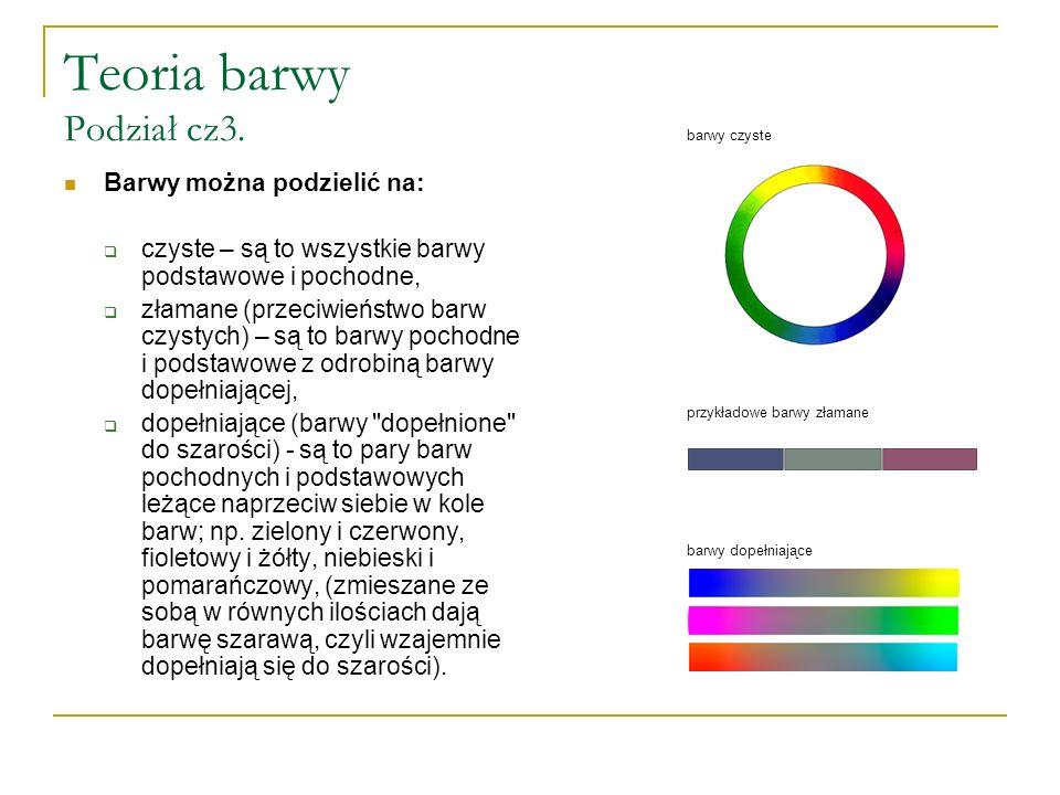 Teoria barwy Podział cz3. Barwy można podzielić na:  czyste – są to wszystkie barwy podstawowe i pochodne,  złamane (przeciwieństwo barw czystych) –