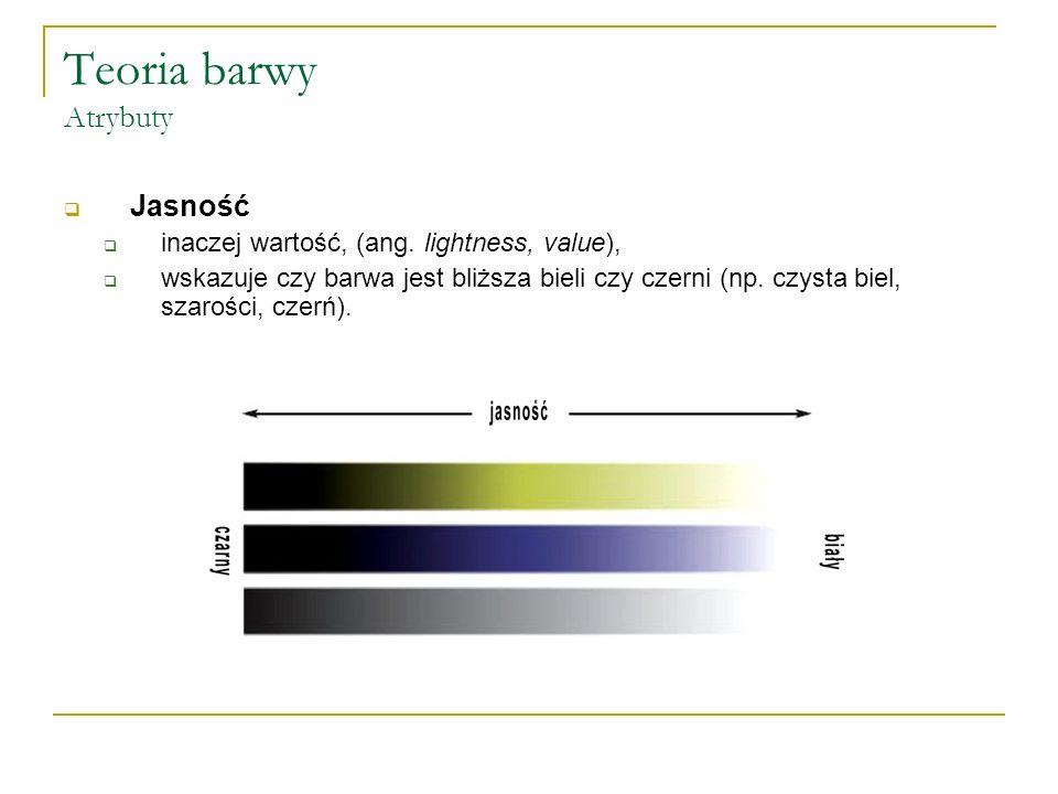 Teoria barwy Atrybuty  Jasność  inaczej wartość, (ang. lightness, value),  wskazuje czy barwa jest bliższa bieli czy czerni (np. czysta biel, szaro