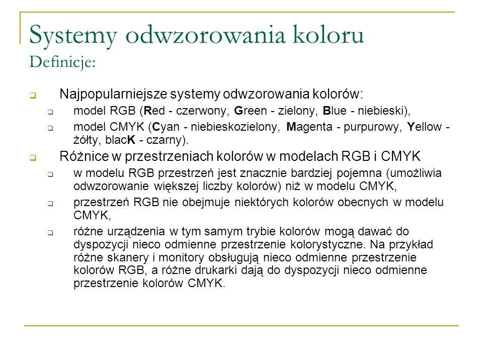 Systemy odwzorowania koloru Definicje:  Najpopularniejsze systemy odwzorowania kolorów:  model RGB (Red - czerwony, Green - zielony, Blue - niebiesk