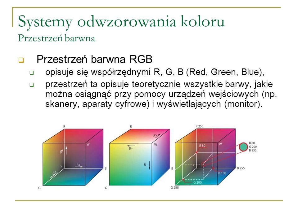 Systemy odwzorowania koloru Przestrzeń barwna  Przestrzeń barwna RGB  opisuje się współrzędnymi R, G, B (Red, Green, Blue),  przestrzeń ta opisuje