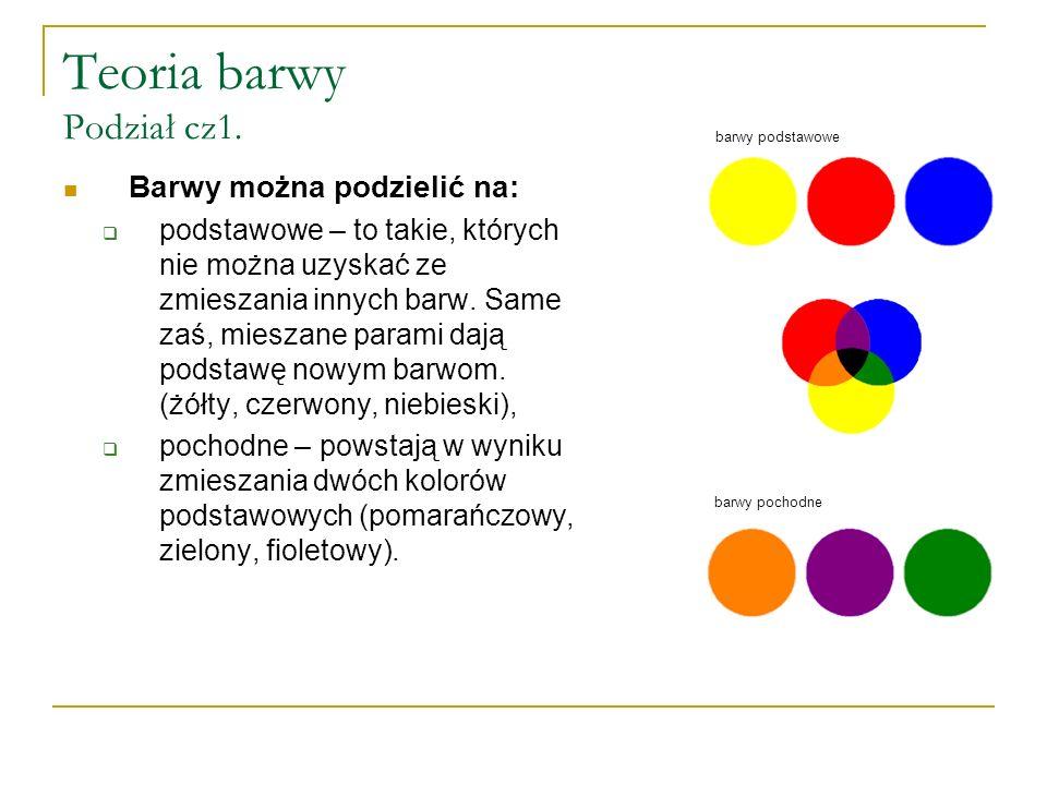 Teoria barwy Podział cz1. Barwy można podzielić na:  podstawowe – to takie, których nie można uzyskać ze zmieszania innych barw. Same zaś, mieszane p
