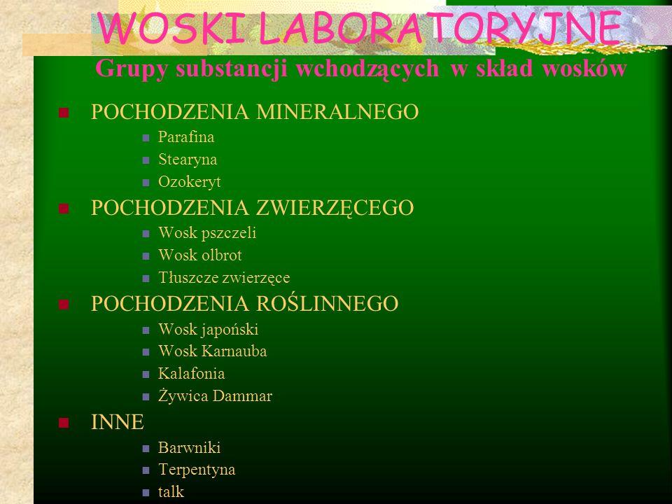 Grupy substancji wchodzących w skład wosków POCHODZENIA MINERALNEGO Parafina Stearyna Ozokeryt POCHODZENIA ZWIERZĘCEGO Wosk pszczeli Wosk olbrot Tłusz