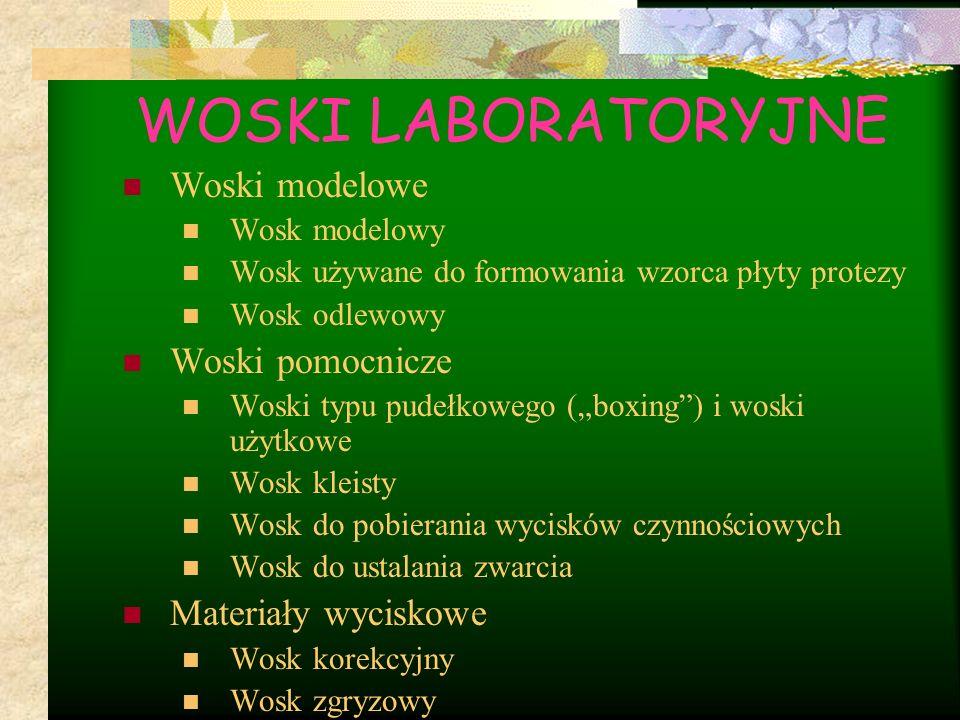 """Woski modelowe Wosk modelowy Wosk używane do formowania wzorca płyty protezy Wosk odlewowy Woski pomocnicze Woski typu pudełkowego (""""boxing"""") i woski"""
