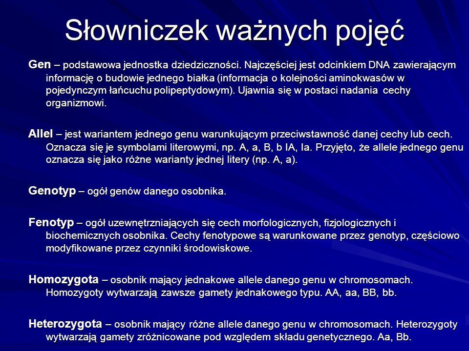 Słowniczek ważnych pojęć Gen – podstawowa jednostka dziedziczności. Najczęściej jest odcinkiem DNA zawierającym informację o budowie jednego białka (i