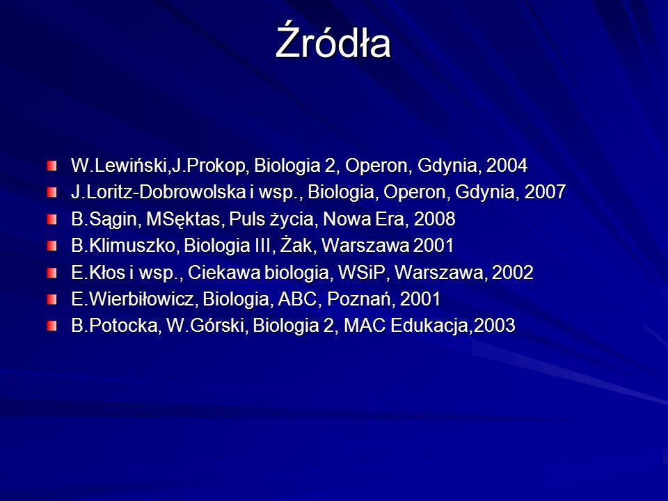Źródła W.Lewiński,J.Prokop, Biologia 2, Operon, Gdynia, 2004 J.Loritz-Dobrowolska i wsp., Biologia, Operon, Gdynia, 2007 B.Sągin, MSęktas, Puls życia,