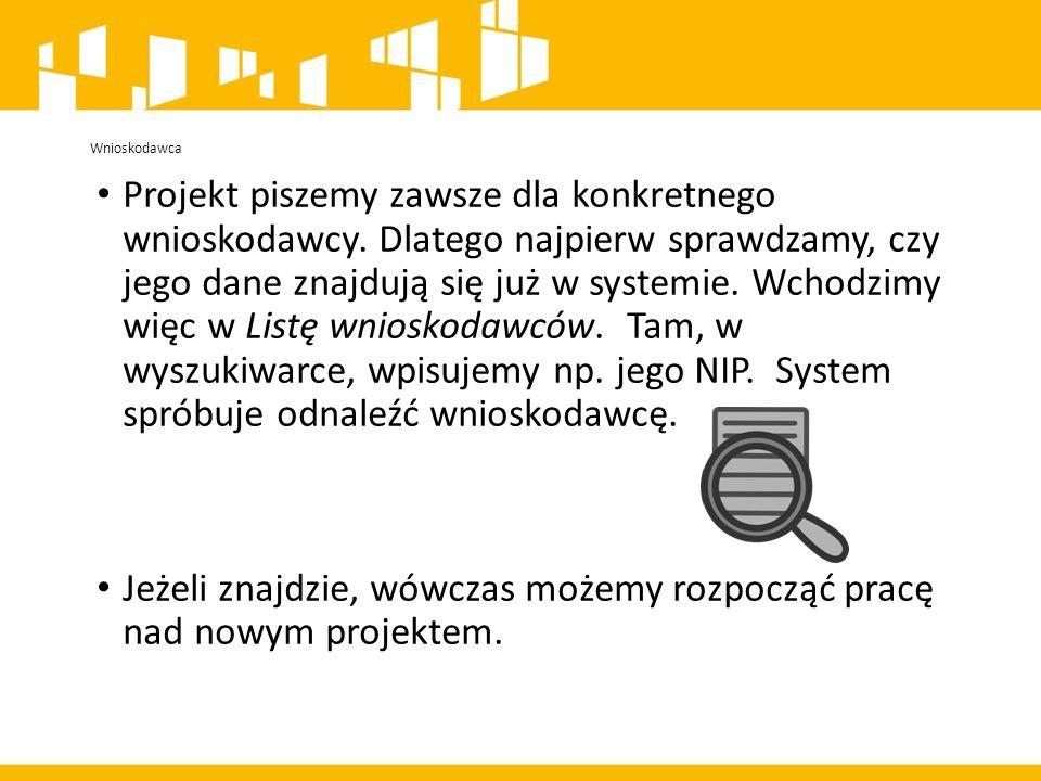 Projekt piszemy zawsze dla konkretnego wnioskodawcy.