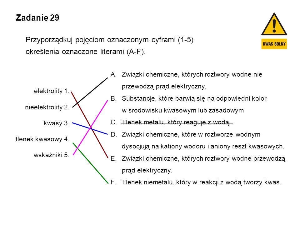 Zadanie 29 Przyporządkuj pojęciom oznaczonym cyframi (1-5) określenia oznaczone literami (A-F). elektrolity 1. nieelektrolity 2. kwasy 3. tlenek kwaso