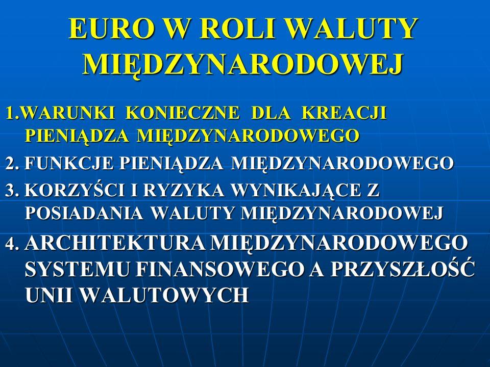 EURO W ROLI WALUTY MIĘDZYNARODOWEJ WARUNKI KONIECZNE DLA KREACJI PIENIĄDZA MIĘDZYNARODOWEGO