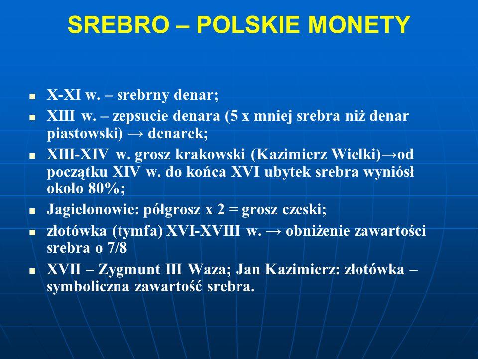 SREBRO – POLSKIE MONETY X-XI w. – srebrny denar; XIII w.