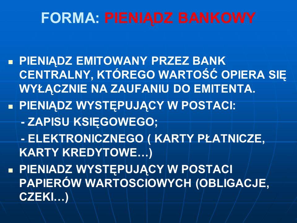 FORMA: PIENIĄDZ BANKOWY PIENIĄDZ EMITOWANY PRZEZ BANK CENTRALNY, KTÓREGO WARTOŚĆ OPIERA SIĘ WYŁĄCZNIE NA ZAUFANIU DO EMITENTA.