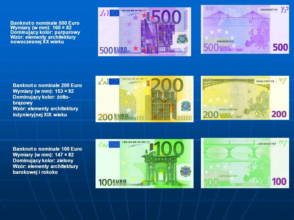 Banknot o nominale 500 Euro Wymiary (w mm): 160 × 82 Dominujący kolor: purpurowy Wzór: elementy architektury nowoczesnej XX wieku Banknot o nominale 200 Euro Wymiary (w mm): 153 × 82 Dominujący kolor: żółto- brązowy Wzór: elementy architektury inżynieryjnej XIX wieku Banknot o nominale 100 Euro Wymiary (w mm): 147 × 82 Dominujący kolor: zielony Wzór: elementy architektury barokowej i rokoko