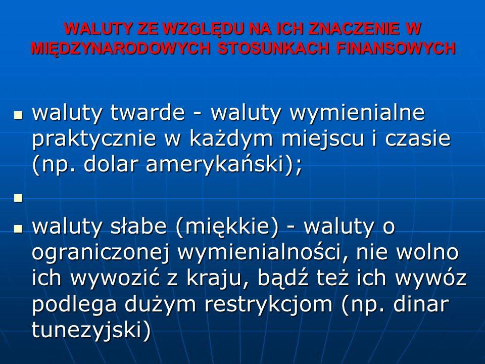 WALUTY ZE WZGLĘDU NA ICH ZNACZENIE W MIĘDZYNARODOWYCH STOSUNKACH FINANSOWYCH waluty twarde - waluty wymienialne praktycznie w każdym miejscu i czasie (np.
