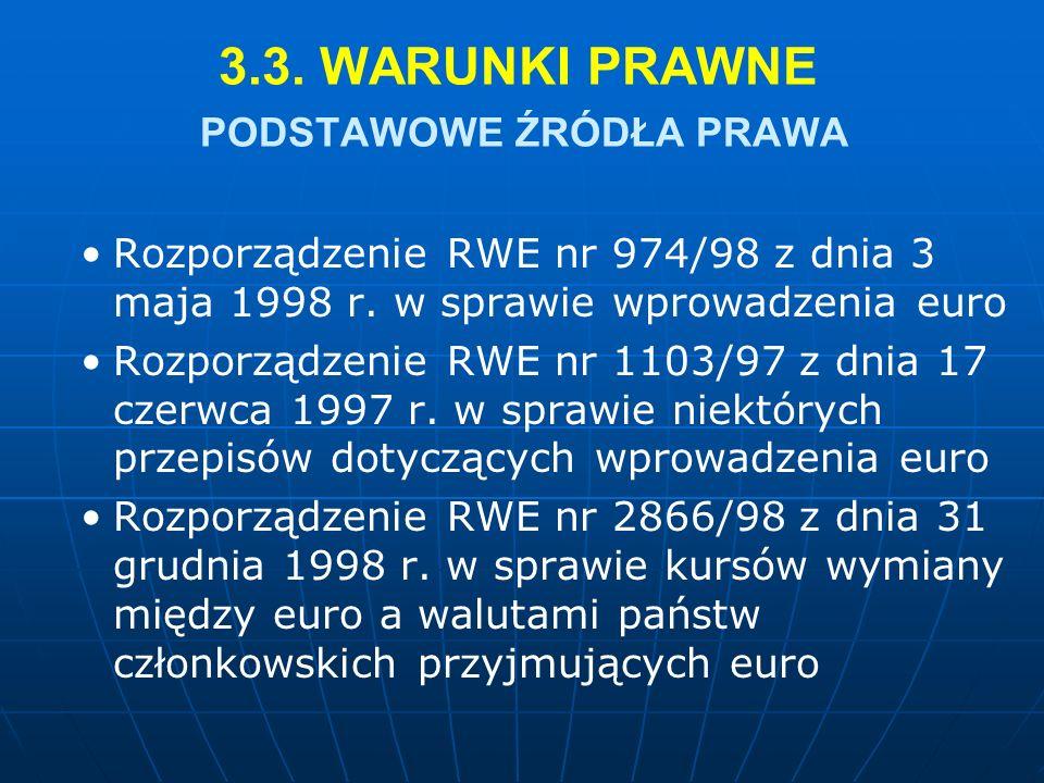 3.3. WARUNKI PRAWNE PODSTAWOWE ŹRÓDŁA PRAWA Rozporządzenie RWE nr 974/98 z dnia 3 maja 1998 r.