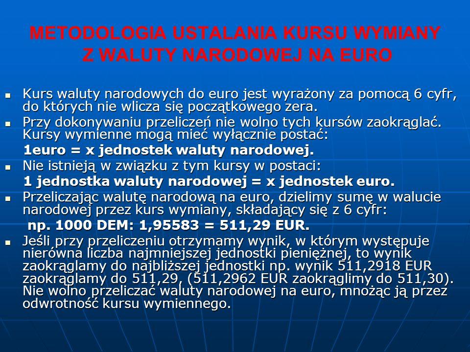 METODOLOGIA USTALANIA KURSU WYMIANY Z WALUTY NARODOWEJ NA EURO Kurs waluty narodowych do euro jest wyrażony za pomocą 6 cyfr, do których nie wlicza się początkowego zera.