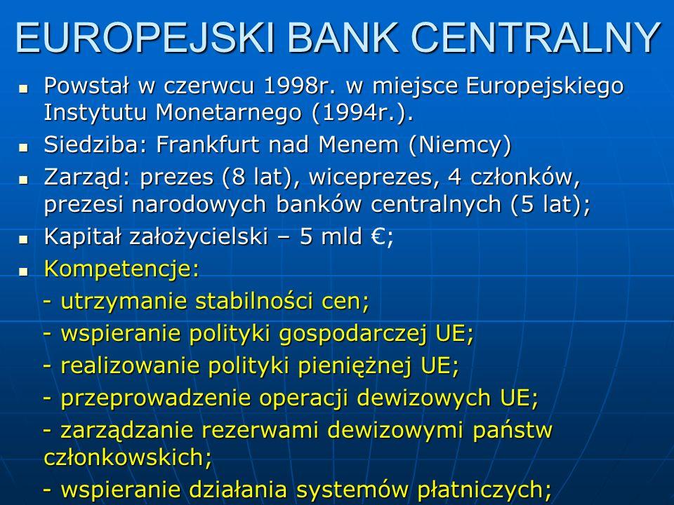 EUROPEJSKI BANK CENTRALNY Powstał w czerwcu 1998r.