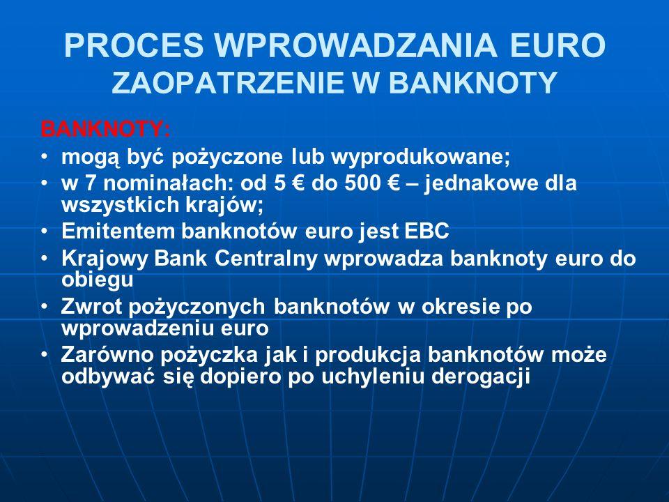 PROCES WPROWADZANIA EURO ZAOPATRZENIE W BANKNOTY BANKNOTY: mogą być pożyczone lub wyprodukowane; w 7 nominałach: od 5 € do 500 € – jednakowe dla wszystkich krajów; Emitentem banknotów euro jest EBC Krajowy Bank Centralny wprowadza banknoty euro do obiegu Zwrot pożyczonych banknotów w okresie po wprowadzeniu euro Zarówno pożyczka jak i produkcja banknotów może odbywać się dopiero po uchyleniu derogacji
