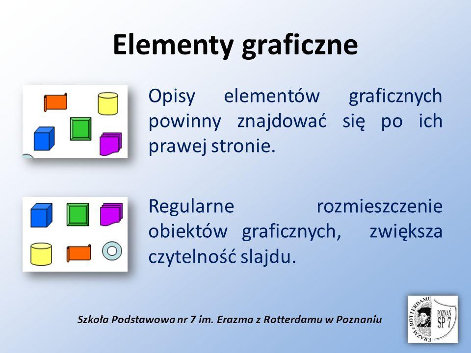 Szkoła Podstawowa nr 7 im. Erazma z Rotterdamu w Poznaniu Elementy graficzne Opisy elementów graficznych powinny znajdować się po ich prawej stronie.
