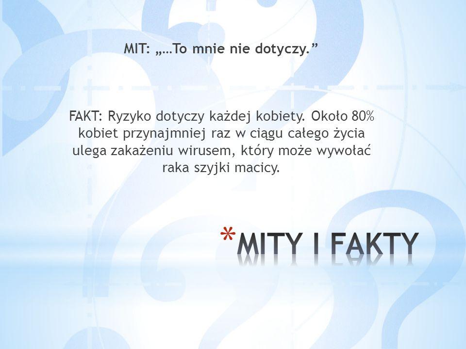 """MIT: """"…To mnie nie dotyczy."""" FAKT: Ryzyko dotyczy każdej kobiety. Około 80% kobiet przynajmniej raz w ciągu całego życia ulega zakażeniu wirusem, któr"""