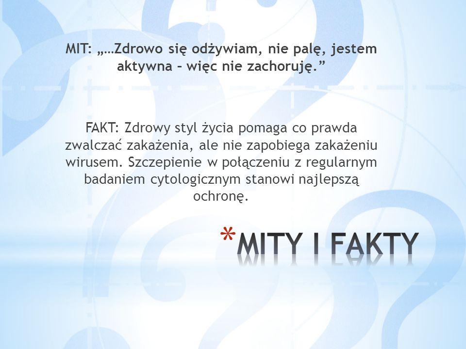 """MIT: """"…Zdrowo się odżywiam, nie palę, jestem aktywna – więc nie zachoruję."""" FAKT: Zdrowy styl życia pomaga co prawda zwalczać zakażenia, ale nie zapob"""