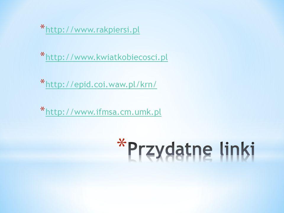 * http://www.rakpiersi.pl http://www.rakpiersi.pl * http://www.kwiatkobiecosci.pl http://www.kwiatkobiecosci.pl * http://epid.coi.waw.pl/krn/ http://e